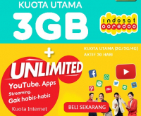 Voucher Kuota Indosat 3GB Unlimited