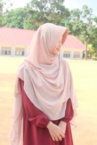 Khimar Hidzhil - warna Coklat Susu